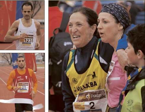 A la izquierda, Juan Antonio Cuadrllero, tercero y mejor marca española de siempre, y el nuevo campeón, Youness Aithadi, que rebajó en casi tres minutos y medio el récord de la carrera. A la derecha, Josefa Cruz festejando su llegada en 1:59:59 horas (Foto:  E. P.)