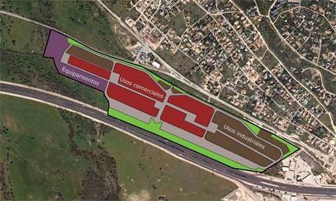 Vista aérea de la zona de desarrollo del SAU-2, entre la autopista y la M-527