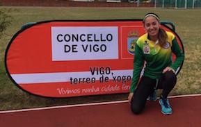 La atleta sanlorentina, tras la prueba disputada en Vigo