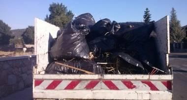 Tres metros cúbicos de basura sacados de la Dehesa de Moralzarzal