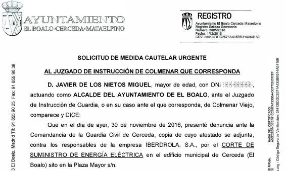 El Ayuntamiento solicita ante el juzgado medidas cautelares urgentes contra el corte de luz