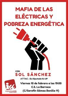 IU celebra este viernes un acto sobre la pobreza energética con Sol Sánchez
