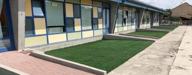 El Ayuntamiento de Moralzarzal reutiliza césped artificial en diferentes espacios municipales
