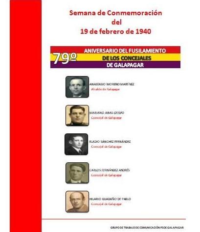 Actos de la conmemoración del 79 aniversario del fusilamiento (año 1.940) de cinco concejales de Galapagar