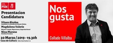 La Ministra Magdalena Valerio presentará la candidatura del PSOE de Collado Villalba al 26M.