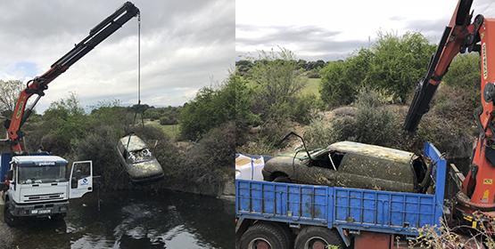 Sacan un coche de una cantera de la Dehesa Municipal de Alpedrete desaparecido en 1999