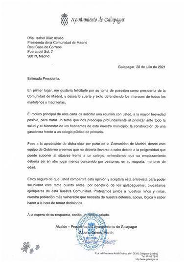 El alcalde de Galapagar pide a Ayuso evitar la construcción de una gasolinera frente a un colegio del municipio